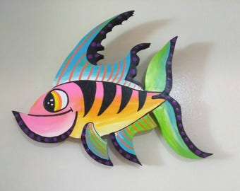 Tropical Cutie Pie Fish Home Decor Wood Sign Handcrafted Hand Painted