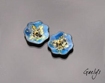 Enamel - Pansy - 2 flowers - plate copper enamel - blue, yellow and fried heart black - enamel Gaelys