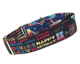 Martingale Collar, Dog Collar, HAPPY BIRTHDAY, Safety Collar, Greyhound Collar, Sighthound Collar, Festive collar, Birthday Collar