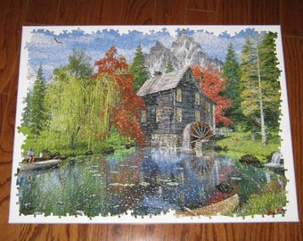 NEW - CREEKSIDE MILL Waterwheel Canvas Puzzle Art