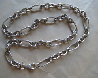 Chunky Link Chain Sterling Necklace Silver Vintage 925