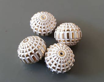 12x10mm White Gold carved textured round acrylic beads 8pcs