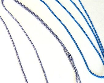 """2 Ball Chains, Lavender and Capri Blue, 1.5mm, 24"""", Jewelry Supplies, DIY Jewelry, Chains Takuniquedesigns"""
