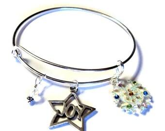 Christmas/Winter Silver Adjustable Charm Bangle Bracelet, Fashion Trend, Takuniquedesigns
