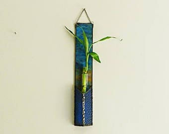Lucky Bamboo Plant, Stained Glass, Hanging Panel, Blended, Peacock Colors