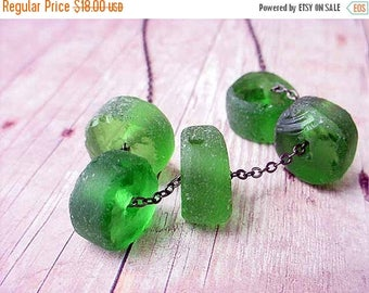 50%OFF Recycled Glass Bottle Green Beads Beach Glass Necklace Gunmetal Chain Gift For Her Under 50
