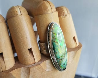 Monarch Opal Ring, Green, Yellow Gemstone, Wide Band, Sterling Silver, Hammered, Size 9.5 to 10.5