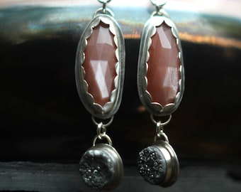 Peach Moonstone Earrings, Faceted Gemstone Dangles, Peach Pink, Glittery Silver, Silver Sparkle Druzy, Sterling Silver, Elegant, Wedding,