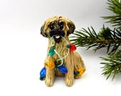 Reserved for Carolyn Lhasa Apso Christmas Ornaments Figurines Porcelain