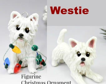 West Highland White Terrier Westie Dog Made to Order Christmas Ornament Figurine Porcelain