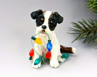 Saint Bernard Christmas Ornament Figurine Lights Porcelain