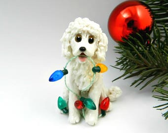 Poodle White Christmas Ornament Figurine Lights Porcelain