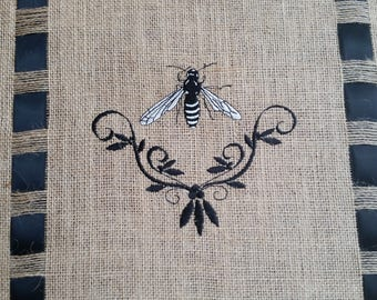 Black and White Bumble Bee Burlap Runner with Black Satin Ribbon