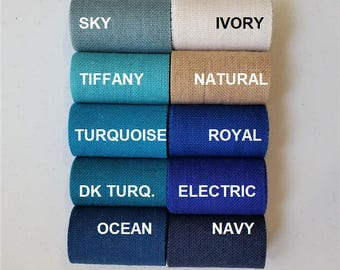 4 inch BLUE Burlap Ribbon - Navy - Sky blue - Ocean Blue - Royal Blue - Electric blue - Tiffany - Turquoise