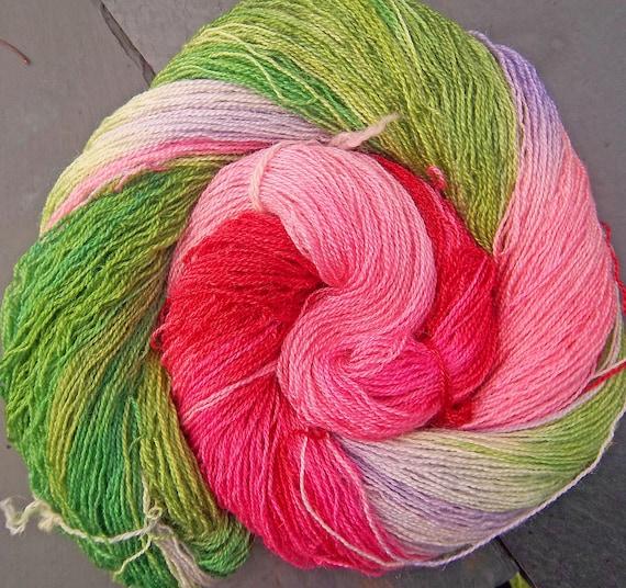 BFL Wool Tussah Silk Laceweight  Elvincraft's Rosebuds in June