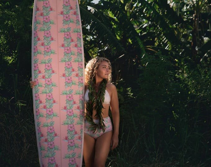 Custom Fabric Inlay Surfboard longboard Blush Pink Coral Tropical Flowers