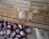Destash Lot OLD Vintage W Germany 14/10 Oval Amethyst Opaque Cabochon Flamingo Stone Flat Back Glass Loose 10/14 mm Art Craft Jewelry S1d