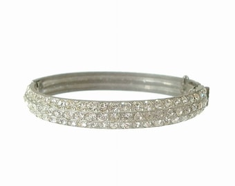 Art Deco Bangle Bracelet, Antique Book Piece, 1920s Vintage Wedding Jewelry, Vintage Pot Metal Rhinestone Cuff, Vintage Rhinestone Jewelry