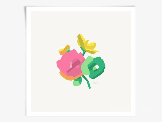 Floral Wall Art - Bright Flower Bouquet Art Print - by Rebecca Silus
