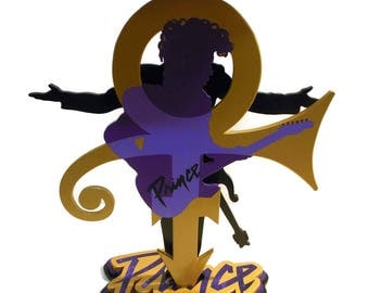 OOAK Original Handmade, Hand painted Prince Symbol Floor Sculpture -Purple and Gold Prince Table -Novelty Table- Piano Table Top- by DAS