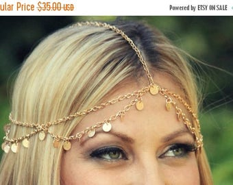 SUMMER SALE CHAIN Headpiece- gold disc chain headdress/headpiece