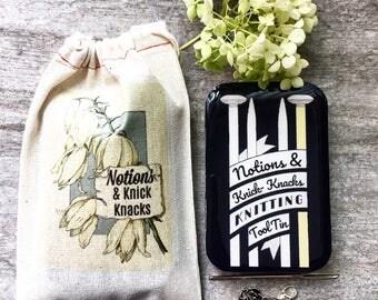 Notions tin, Knitting Kit, Stitch marker storage, Knitting tool tin