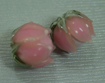 Pink Lily of The Valley Handmade Lampwork Flower Beads SRA FHF