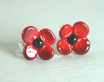 Tiny 9mm Poppy Stud Earrings Handmade Lampwork Glass and Sterling Silver