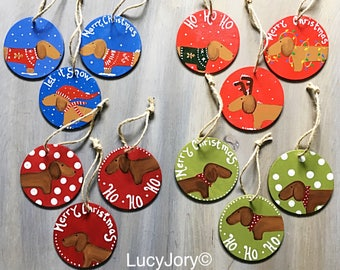 Dachshund Christmas Ornament/Wood Ornaments /Dachshund ornaments /set of 3 ornaments / ho ho ho/ Merry Christmas/ Ugly Christmas Sweaters/