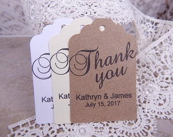Thank you Wedding Tags, Wedding Favor Tag, Gift Tags, Hang Tags, Custom Tags, Personalized Tag, Rustic Wedding Tags, Choose Color and Amount