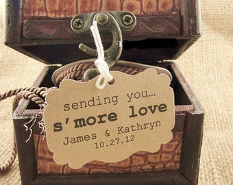 Wedding Favor Tags, Sending you smore love, Wedding Gift Tags, Customizable Personalized