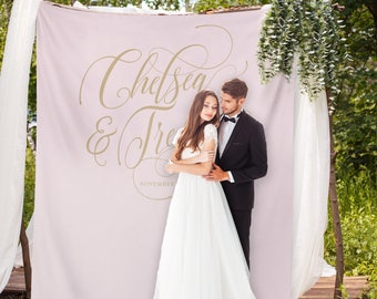 Pinterest Wedding Backdrop, Blush and Gold Banner, Wedding Head Table Backdrop, Blush Wedding Photo Booth, Selfie Wedding // W-A34-TP AA3