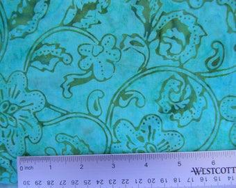 Aqua & Turquoise with Green Floral Print Cotton Batik Fabric