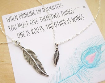 Mother Daughter matching necklace set, feather necklace set, Back to school gift, first day of kindergarten preschool, mom and baby, otis b