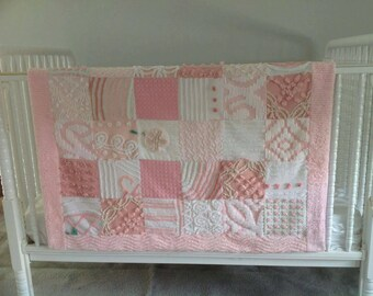 Pink blanket quilt from vintage chenille bedspreads upcycled shabby decor cottage chic pink flower Quiltsy Handmade