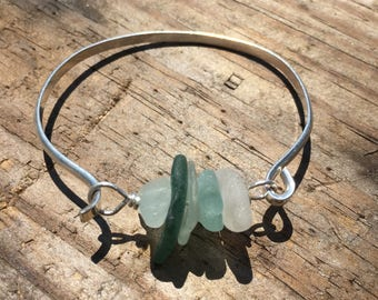 Sea Glass Bracelet with dark green, pink, light green, blue and white sea glass