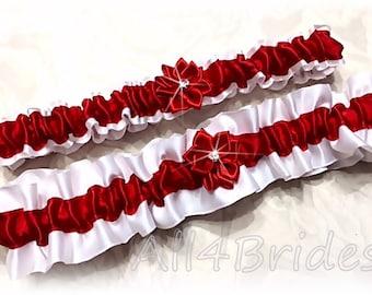 Red and white weddings bridal garter set - bridal accessories - garter belt set.