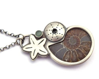 Ammonite Necklace, Sterling Silver Ocean Jewelry, Fossil Jewelry,  Starfish, Urchin, and Aventurine Pendant, Oxidized Silver Necklace