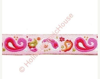 FINAL CLEARANCE SALE Paisley Pink ribbon/sewing tape