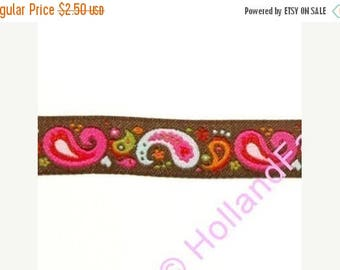 FINAL CLEARANCE SALE Paisley Chocolate ribbon/sewing tape