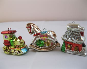 TRIO of ceramic Christmas ornaments.
