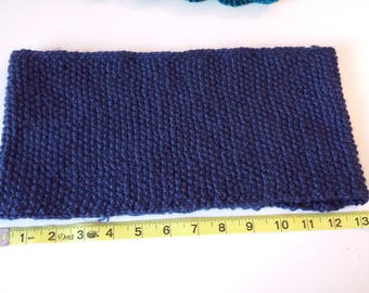 Hand-knitted cowl, neck warmer, seed-knitting, dark blue