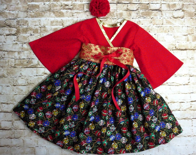 Red and Gold Dress - Girls Christmas Dress - Toddler Dress - Holiday Dress - Little Girl Dress - Sibling Outfit - 12 mos to 14 yrs