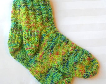 Ready to Ship. Womens Casual Knit Socks. Bright Neon Lime Green. Multi-Color. Red. Yellow. Turquoise. Black. Blue. Slipper Socks. Elderly.