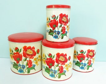 Complete Set of 4 Vintage Kitchen Canisters by Parmeco, Colorful Flowers in Red, Yellow and Blue with Green Leaves