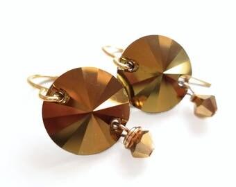 Gold Swarovski Crystal Disc Earrings - gold crystal earrings - gold rivoli earrings
