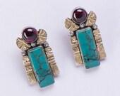 Artisan Sterling Earrings - Turquoise & Garnet Posts - 18k Gold - FREE US Shipping
