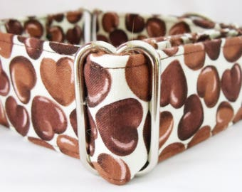 Chocolate Candy Hearts Greyhound, Whippet, Galgo, Pit Bull, Dog Sighthound Martingale Collar