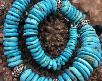 50% Mega Sale Turquoise And Sterling Silver Gemstone Necklace - All Natural