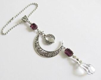 Car Accessories For Women Rear View Mirror Charm Winged Heart Charm Moon Car Charm